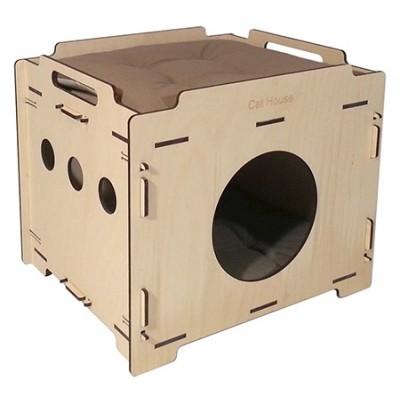 "Cat House домик для кота фанерный ""Лофт"" 37*44*38 см. съемный 2-х сторонний матрац"
