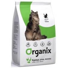 Organix Adult Cat Chicken, Duck, Salmon - натуральный корм для кошек, курица, утка и лосось