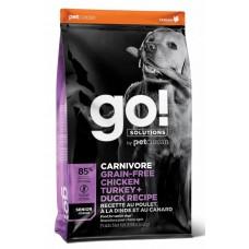 GO! CARNIVORE Senior Recipe 32/14 беззерновой корм для ПОЖИЛЫХ собак всех пород 4 вида мяса: индейка, курица, лосось, утка