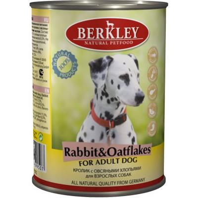 Berkley консервы для взрослых собак с кроликом и овсянкой, 400 гр.