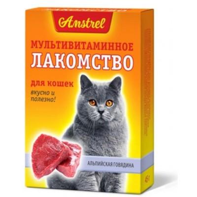 """Amstrel Лакомство мультивитаминное для кошек """"Альпийская говядина 90 табл"""