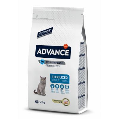 Advance Adult Sterilized - корм сухой для взрослых стерилизованных кошек, со вкусом индейки