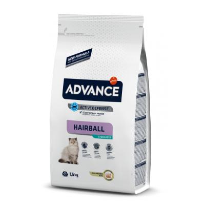 Advance Hairball Sterilized - сухой корм для стерилизованных кошек для вывода шерсти, индейка