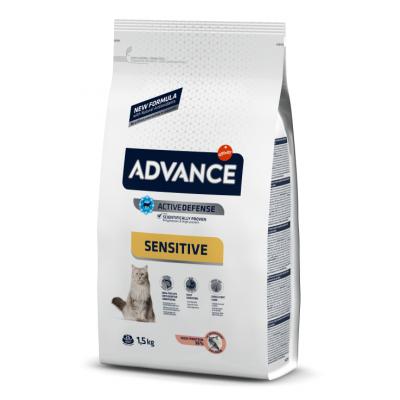 Advance Adult Sensitive - корм сухой для взрослых кошек с чувствительным пищеварением, лосось и рис