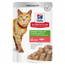 Hill's Science Plan Senior Vitality - влажный корм для пожилых кошек (7+) для поддержания активности и жизненной энергии, пауч с лососем