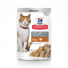 Hill's Science Plan - влажный корм для молодых стерилизованных кошек и кастрированных котов, пауч с индейкой в соусе