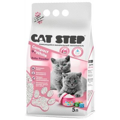 Cat Step Compact White Baby Powder Комкующийся минеральный наполнитель для котят, 5 л