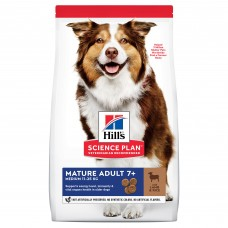 Hill's Science Plan - сухой корм для пожилых собак (7+) средних пород для поддержания активности и здоровья желудочно-кишечного тракта, с ягненком и рисом