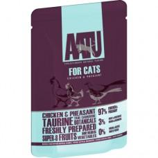 AATU беззерновые паучи для кошек с курицей и фазаном, 97/3 FOR CATS CHICKEN & PHEASANT, 85 г