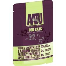 AATU беззерновые паучи для кошек с уткой и куриной печенью, DUCK & CHICKEN LIVER, 85 г