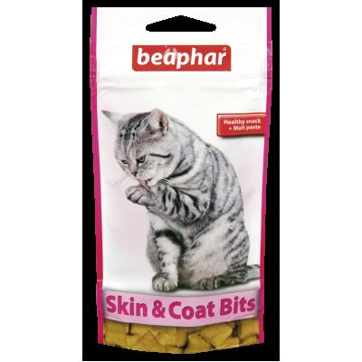 Beaphar SKIN & COAT BITS - Лакомство в виде подушечек для шерсти и кожи кошек, 35 г (арт. DAI11438)