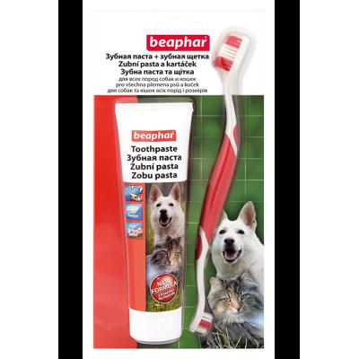 Beaphar TOOTH BRUSH+PASTE combipack - Паста для чистки зубов у собак 100 г + зубная щетка (арт. DAI15407)