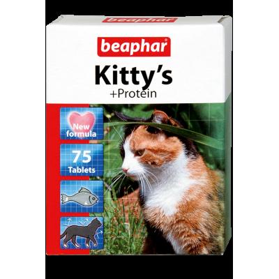 Beaphar Kitty's + Protein (Fische) - витамин. лакомство д/кошек с протеином и вкусом рыбы, 75 табл. (арт. DAI12510, DAI12579)